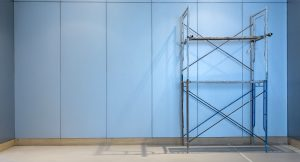 Large empty storehouse with scaffold. space for text or product